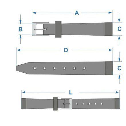 Szary pasek skórzany 16 mm HIRSCH Toronto 03702030-2-16 (L)