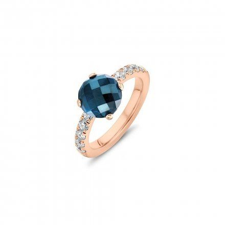 Pierścionek Melano Twisted Petite Crystal TR17 Różowe złoto