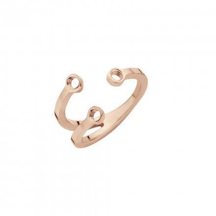 Pierścionek Melano Twisted Trio Stone TR16 Różowe złoto