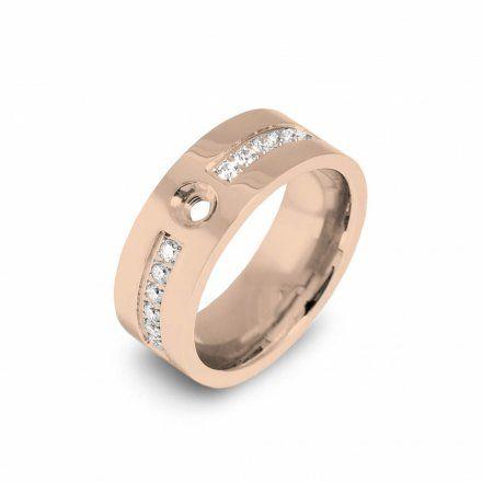 Pierścionek Melano Twisted Flat Crystal TR19 Rożowe złoto