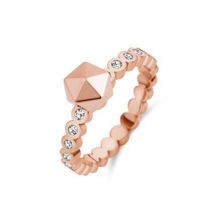 Pierścionek Melano Twisted Wave Crystal TR23 Różowe złoto