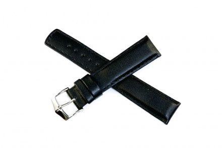 Czarny pasek skórzany 24 mm HIRSCH Runner 04002050-2-24 (L)