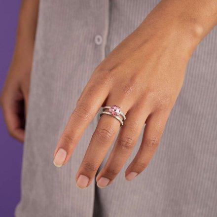 Pierścionek Melano Twisted Trista Crystal TR22 Różowe złoto