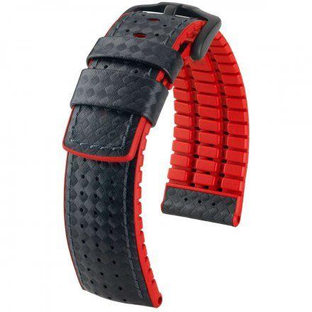Czarno-czerwony pasek skórzany 24 mm HIRSCH Ayrton 0912092050-5-24 (L)