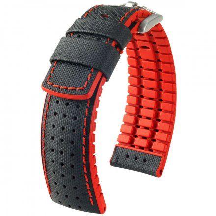 Czarno-czerwony pasek skórzany 22 mm HIRSCH Robby 0912094050-4-22 (L)