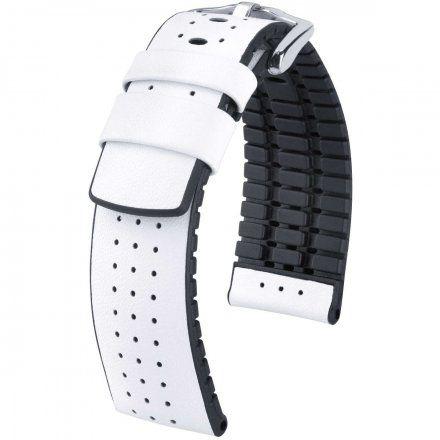 Biało-czarny pasek skórzany 22 mm HIRSCH Tiger 0915075000-2-22 (L)