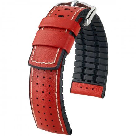 Czerwono-czarny pasek skórzany 18 mm HIRSCH Tiger 0915075020-2-18 (L)