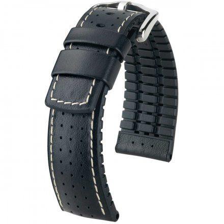Czarny pasek skórzany 24 mm HIRSCH Tiger 0915075050-2-24 (L)