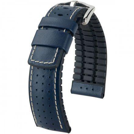 Niebiesko-czarny pasek skórzany 22 mm HIRSCH Tiger 0915075080-2-22 (L)
