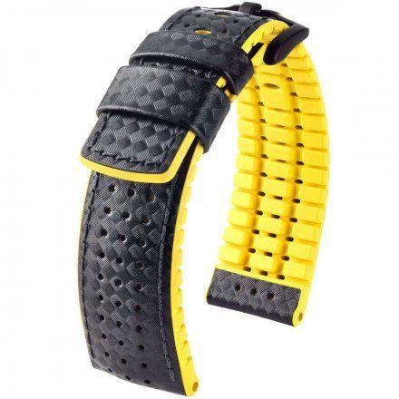 Czarno-żółty pasek skórzany 24 mm HIRSCH Ayrton 0917292050-5-24 (L)