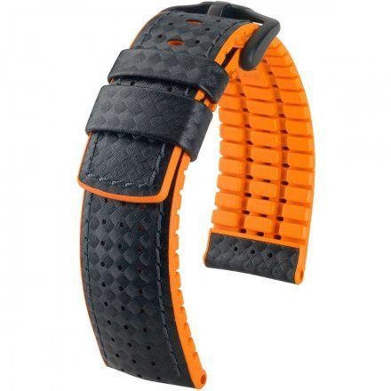 Czarno-pomarańczowy pasek skórzany  24 mm HIRSCH Ayrton 0917692050-5-24 (L)