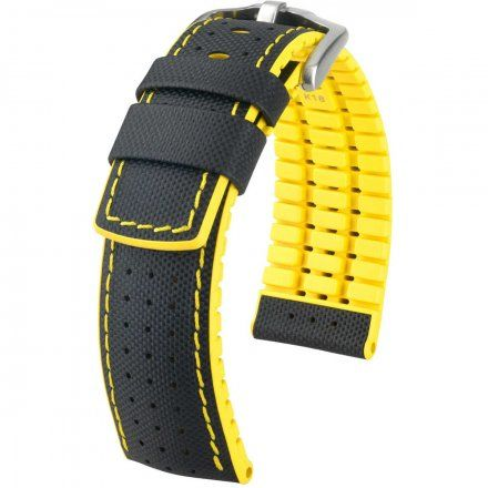 Czarno-żółty pasek skórzany 24 mm HIRSCH Robby 0917294050-4-24 (L)