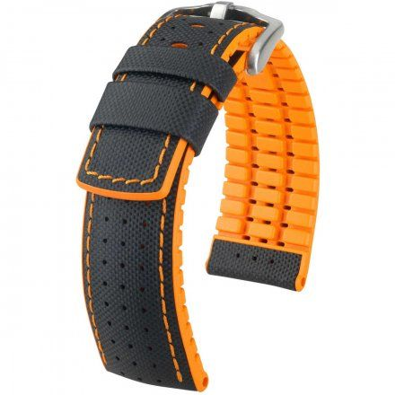 Czarno-pomarańczowy pasek skórzany 24 mm HIRSCH Robby 0917694050-4-24 (L)