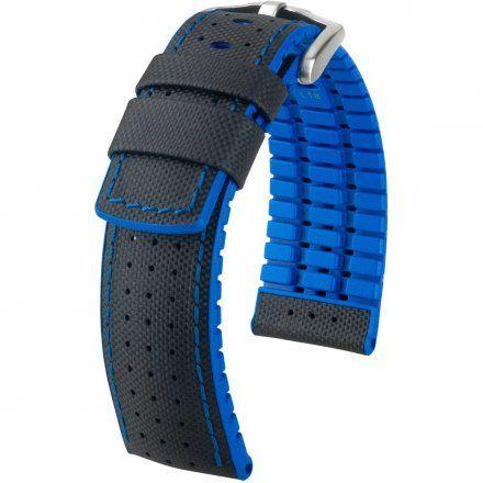 Czarno-niebieski pasek skórzany 22 mm HIRSCH Robby 0918094050-4-22 (L)