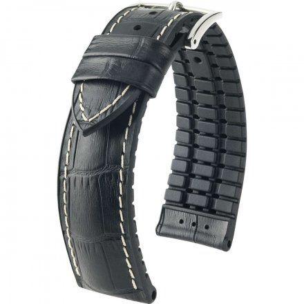 Czarny pasek skórzany 24 mm HIRSCH George 0925128050-2-24 (L)