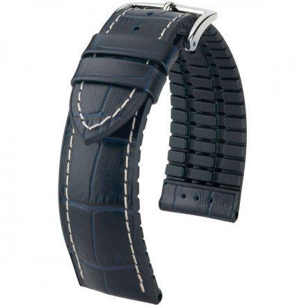 Niebiesko-czarny pasek skórzany 24 mm HIRSCH George 0925128080-2-24 (L)