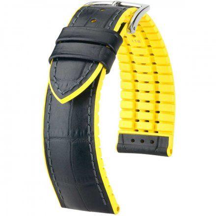 Czarno-żółty pasek skórzany 24 mm HIRSCH Andy 0927228050-2-24 (L)
