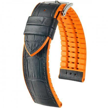 Czarno-pomarańczowy pasek skórzany 24 mm HIRSCH Andy 0927628050-2-24 (L)