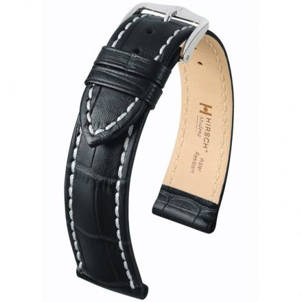 Czarny pasek skórzany 19 mm HIRSCH Modena 10302850-2-19 (L)