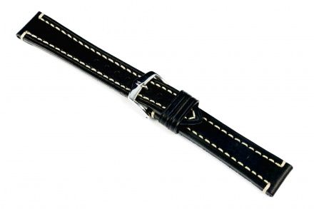 Czarny pasek skórzany 24 mm HIRSCH Liberty 10900250-2-24 (L)