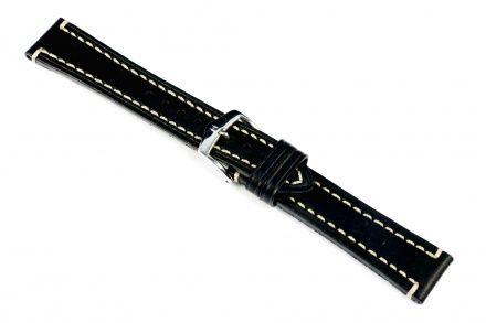 Czarny pasek skórzany 20 mm HIRSCH Liberty 10920250-2-20 (XL)