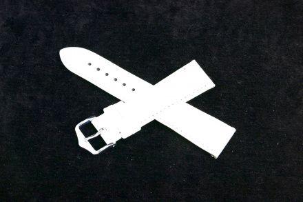Biały pasek skórzany 14 mm HIRSCH Crocograin 12302800-1-14 (M)