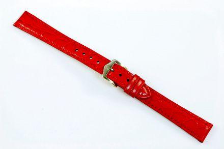 Czerwony pasek skórzany 16 mm HIRSCH Crocograin 12302820-1-16 (M)