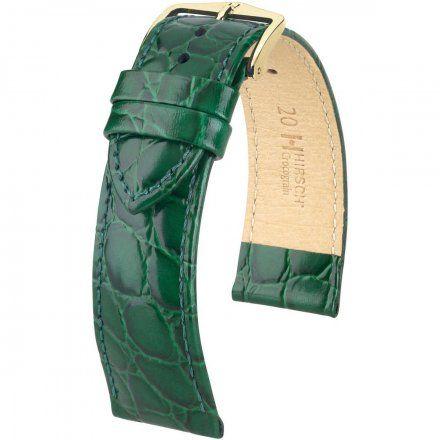 Zielony pasek skórzany 14 mm HIRSCH Crocograin 12302840-1-14 (M)