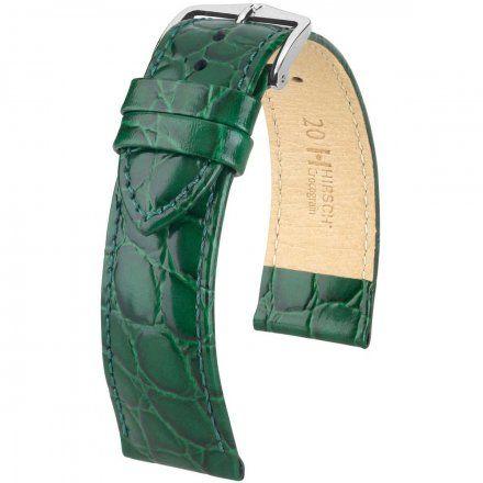 Zielony pasek skórzany 20 mm HIRSCH Crocograin 12302840-2-20 (M)