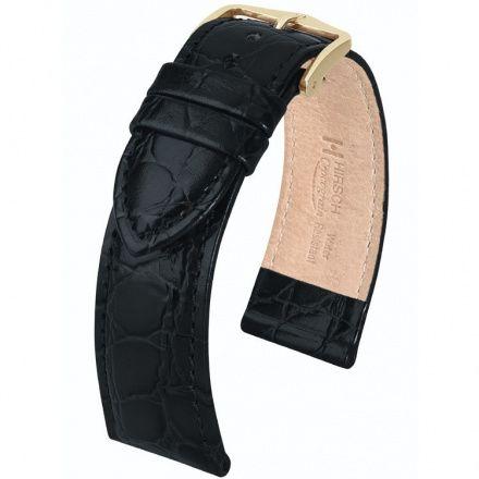 Czarny pasek skórzany 14 mm HIRSCH Crocograin 12302850-1-14 (M)