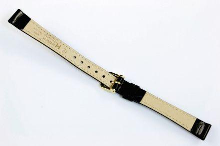 Czarny pasek skórzany 15 mm HIRSCH Crocograin 12302850-1-15 (M)