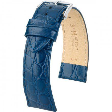 Niebieski pasek  skórzany 20 mm HIRSCH Crocograin 12302880-2-20 (M)