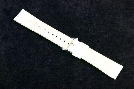 Biały pasek skórzany 18 mm HIRSCH Crocograin 12322800-2-18 (L)