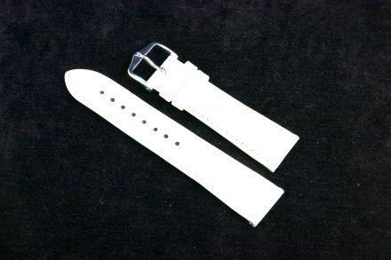 Biały pasek skórzany 20 mm HIRSCH Crocograin 12322800-2-20 (L)