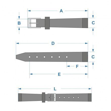 Czarny pasek skórzany 14 mm HIRSCH Crocograin 12322850-2-14 (L)