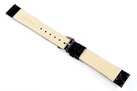 Czarny pasek skórzany 16 mm HIRSCH Crocograin 12322850-2-16 (L)