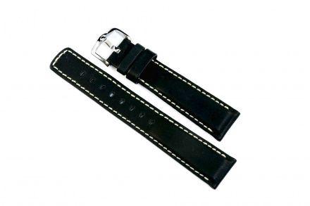 Czarny pasek skórzany 22 mm HIRSCH Mariner 14502150-2-22 (L)