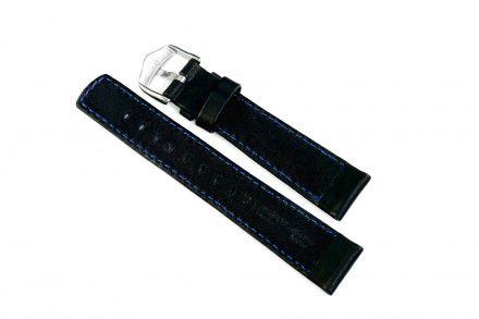 Czarny pasek skórzany 24 mm HIRSCH Mariner 14502150-2-24 (L)