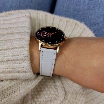 Smartwatch Pacific 18-2 Różowozłoty z bransoletką + biały pasek