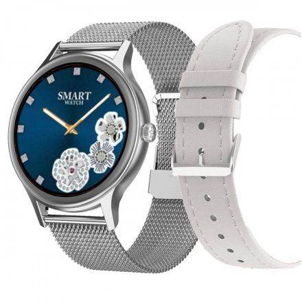 Smartwatch Pacific 18-4 Srebrny z bransoletką + biały pasek