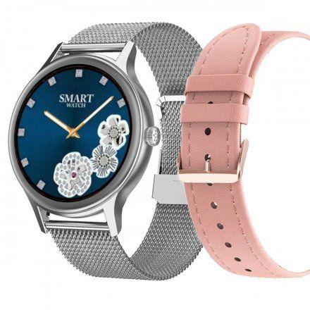 Smartwatch Pacific 18-5 Srebrny z bransoletką + różowy pasek