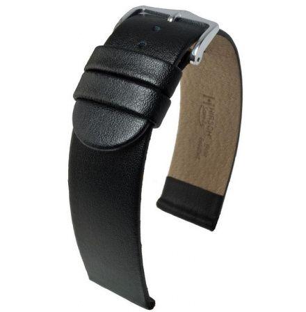 Czarny pasek skórzany 20 mm HIRSCH Scandic 17852050-2-20 (M)