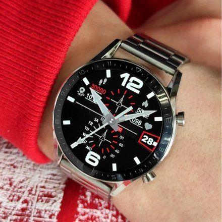Sportowy Smartwatch Pacific 19-6 Srebrny na bransolecie Rozmowy Kroki