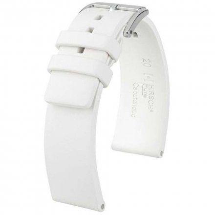Biały pasek kauczukowy 18 mm HIRSCH Pure 40418800-2-18 (M)