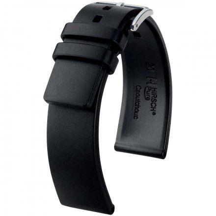 Czarny pasek kauczukowy 24 mm HIRSCH Pure 40538850-2-24 (L)