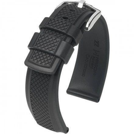 Czarny pasek  kauczukowy 22 mm HIRSCH Accent 40478850-2-22 (L)
