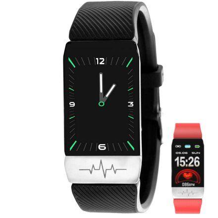 Czarny smartwatch z termometrem Rubicon RNCE60RIBX01BX + PASEK CZERWONY