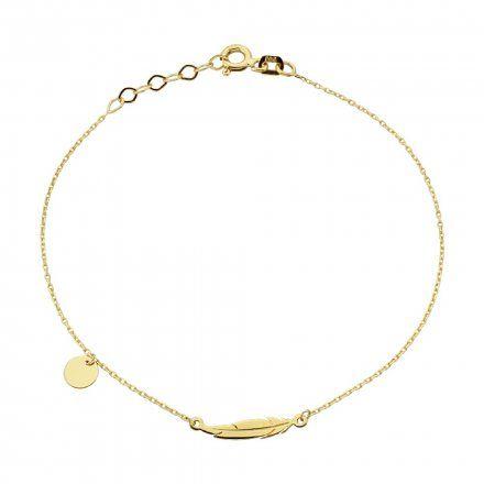 Biżuteria SAXO Złota bransoletka złote kółko piórko 2-21-B00428-0.76
