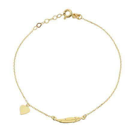 Biżuteria SAXO Złota bransoletka złote serce piórko 2-21-B00425-0.76