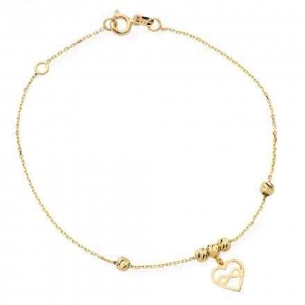Biżuteria SAXO Złota bransoletka złota serce kuleczki 2-21-B00383-0.93